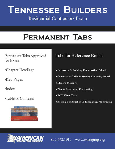 Permanent Tabs for the Tennessee Residential Exam Reference Books