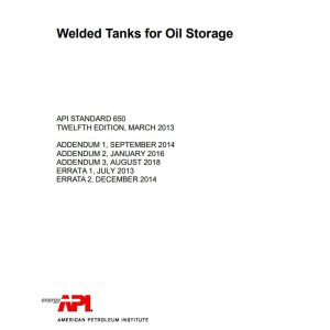 api 650 12th edition welded steel tanks for oil storage pdf